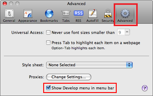 Tick show develop menu in the Safari menu bar