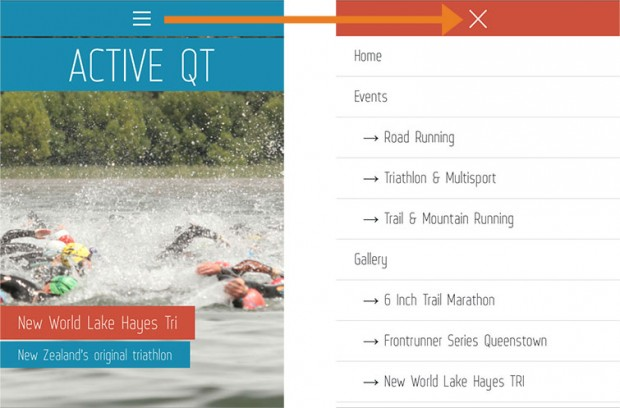 Queenstown Web Design for Active QT is a great example of responsive design by New Zealand digital agency Phancybox - how mobile-friendly menu works
