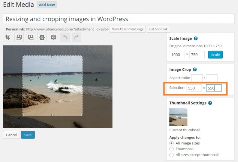 WordPress shows you the new image dimensions while you are selecting your cropping area - Phancybox Wanaka Web Design