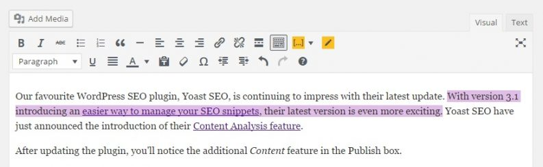 Yoast SEO 3.3 update lets you Test your Content Quality - highlighted Content issue - Phancybox New Zealand Digital Agency