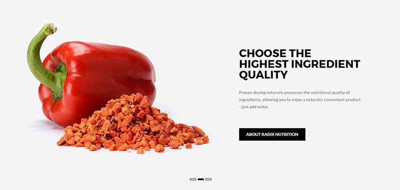Auckland Magento web development by Phancybox for Radix Nutrition Magento homepage banner min - Radix Nutrition