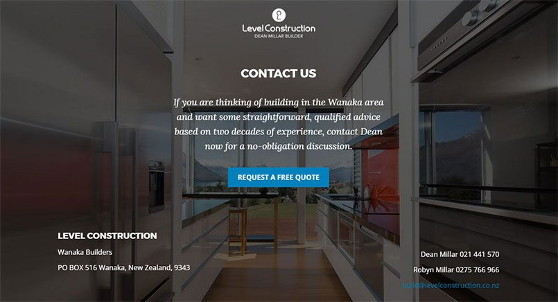 New Zealand web design and seo by Phancybox Digital Agency for Level Construction Footer section min - Level Construction
