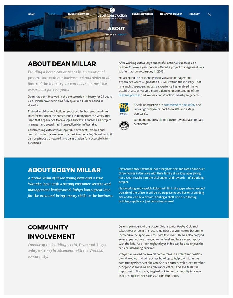 Wanaka Web Design and SEO by Phancybox for Level Construction website About page min e1489008321532 - Level Construction