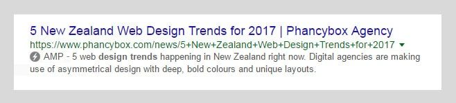 AMP icon on Google mobile search results Phancybox NZ web company min - Turn on AMP for a Faster Mobile Web Experience